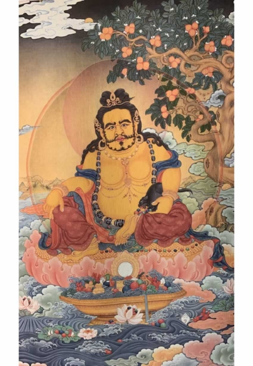 Yellow Dzambala Thangka